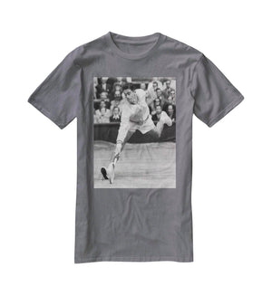 Ken Rosewall in action at Wimbledon T-Shirt - Canvas Art Rocks - 3