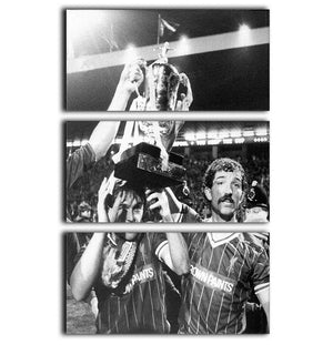 Kenny Dalglish and Graeme Souness with the Milk Cup trophy 3 Split Panel Canvas Print - Canvas Art Rocks - 1