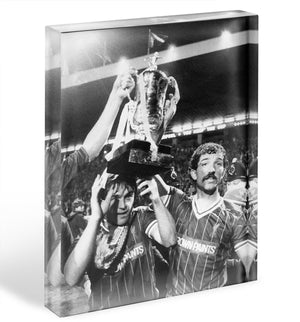 Kenny Dalglish and Graeme Souness with the Milk Cup trophy Acrylic Block - Canvas Art Rocks - 1