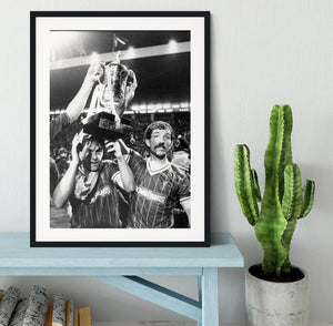 Kenny Dalglish and Graeme Souness with the Milk Cup trophy Framed Print - Canvas Art Rocks - 1