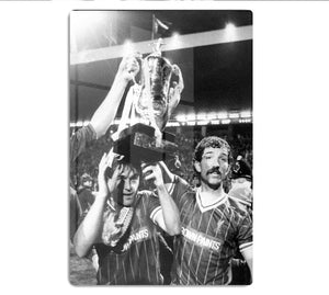 Kenny Dalglish and Graeme Souness with the Milk Cup trophy HD Metal Print - Canvas Art Rocks - 1