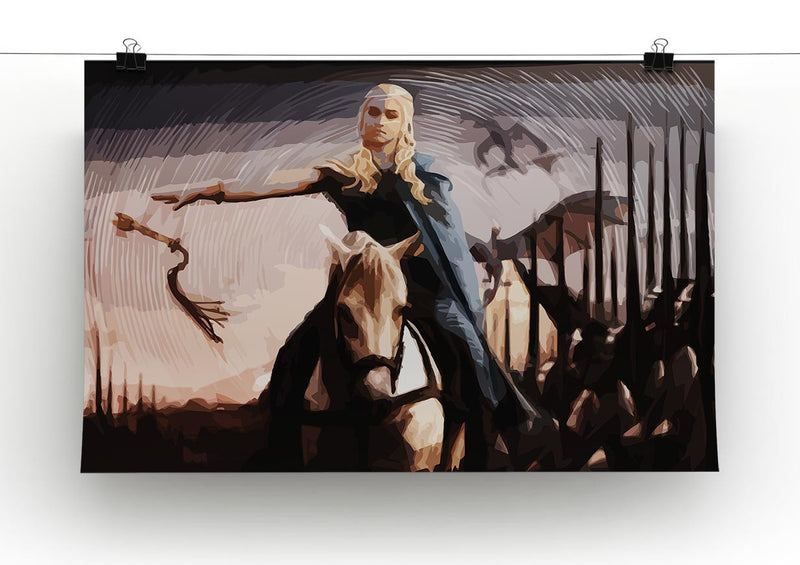 Khaleesi On A Black Horse Print - Canvas Art Rocks - 2