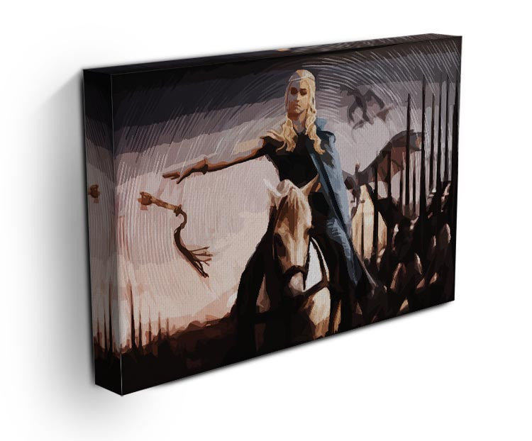 Khaleesi On A Black Horse Print - Canvas Art Rocks - 3