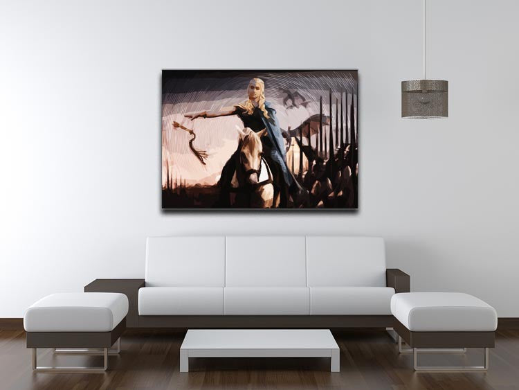 Khaleesi On A Black Horse Print - Canvas Art Rocks - 4