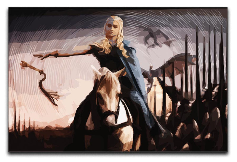Khaleesi On A Black Horse Print - Canvas Art Rocks - 1