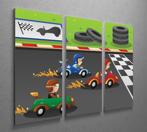 Kids in a car racing 3 Split Panel Canvas Print - Canvas Art Rocks - 2