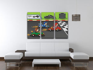 Kids in a car racing 3 Split Panel Canvas Print - Canvas Art Rocks - 3