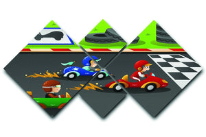 Kids in a car racing 4 Square Multi Panel Canvas  - Canvas Art Rocks - 1
