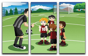 Kids in soccer field listening to their coach 3 Split Panel Canvas Print - Canvas Art Rocks - 1