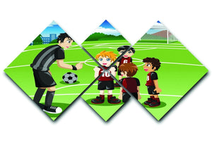Kids in soccer field listening to their coach 4 Square Multi Panel Canvas  - Canvas Art Rocks - 1