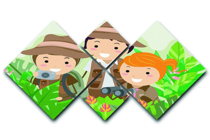 Kids on a Safari Adventure 4 Square Multi Panel Canvas
