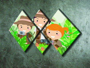 Kids on a Safari Adventure 4 Square Multi Panel Canvas - Canvas Art Rocks - 2