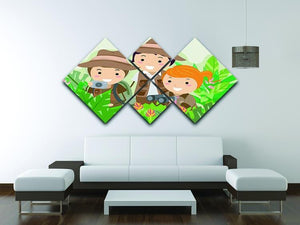 Kids on a Safari Adventure 4 Square Multi Panel Canvas - Canvas Art Rocks - 3