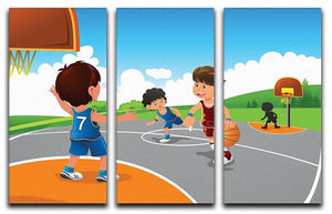 Kids playing basketball in a playground 3 Split Panel Canvas Print - Canvas Art Rocks - 1
