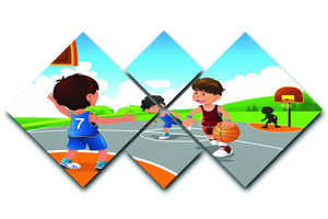 Kids playing basketball in a playground 4 Square Multi Panel Canvas  - Canvas Art Rocks - 1