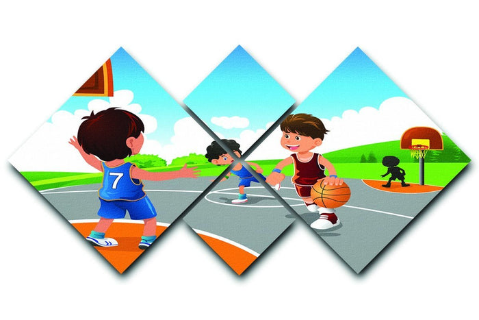 Kids playing basketball in a playground 4 Square Multi Panel Canvas