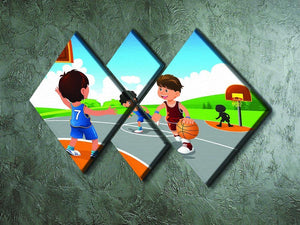 Kids playing basketball in a playground 4 Square Multi Panel Canvas - Canvas Art Rocks - 2
