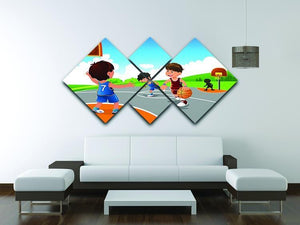 Kids playing basketball in a playground 4 Square Multi Panel Canvas - Canvas Art Rocks - 3