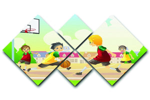 Kids playing basketball in the suburban area 4 Square Multi Panel Canvas  - Canvas Art Rocks - 1