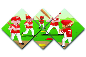 Kids practicing baseball 4 Square Multi Panel Canvas  - Canvas Art Rocks - 1