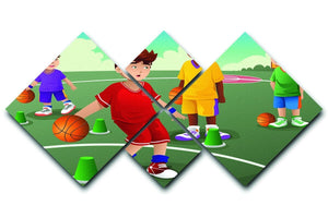 Kids practicing basketball 4 Square Multi Panel Canvas  - Canvas Art Rocks - 1