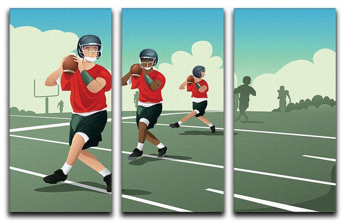 Kids practicing football 3 Split Panel Canvas Print