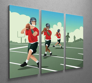 Kids practicing football 3 Split Panel Canvas Print - Canvas Art Rocks - 2