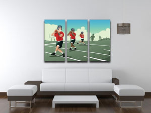 Kids practicing football 3 Split Panel Canvas Print - Canvas Art Rocks - 3