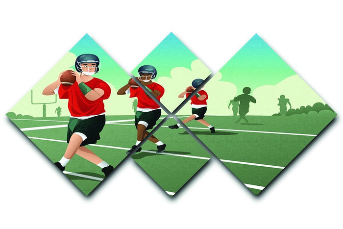 Kids practicing football 4 Square Multi Panel Canvas