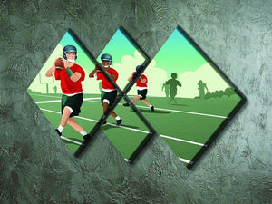 Kids practicing football 4 Square Multi Panel Canvas - Canvas Art Rocks - 2