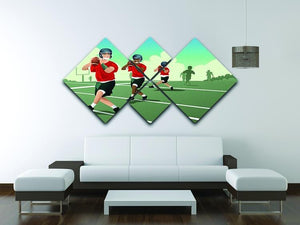 Kids practicing football 4 Square Multi Panel Canvas - Canvas Art Rocks - 3