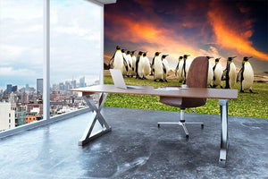 King Penguins in the Falkland Islands Wall Mural Wallpaper - Canvas Art Rocks - 3