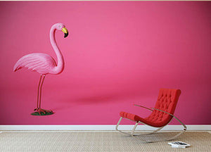 Kitsch pink flamingo in studio Wall Mural Wallpaper - Canvas Art Rocks - 2