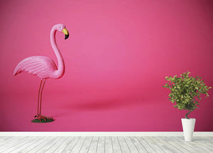 Kitsch pink flamingo in studio Wall Mural Wallpaper - Canvas Art Rocks - 4