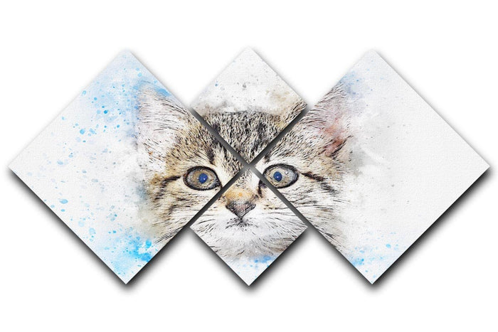 Kitten Painting 4 Square Multi Panel Canvas