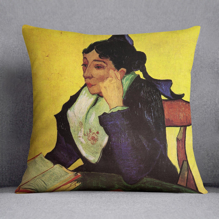 L'Arlesienne Madame Ginoux with Books by Van Gogh Throw Pillow