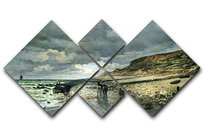 La Pointe del Heve at low tide by Monet 4 Square Multi Panel Canvas
