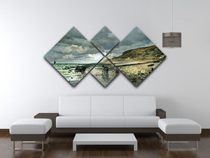 La Pointe del Heve at low tide by Monet 4 Square Multi Panel Canvas - Canvas Art Rocks - 3