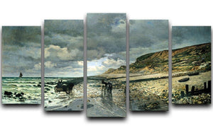 La Pointe del Heve at low tide by Monet 5 Split Panel Canvas  - Canvas Art Rocks - 1