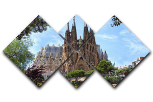 La Sagrada Familia 4 Square Multi Panel Canvas  - Canvas Art Rocks - 1