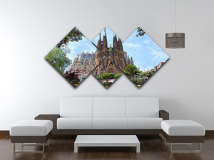 La Sagrada Familia 4 Square Multi Panel Canvas  - Canvas Art Rocks - 3