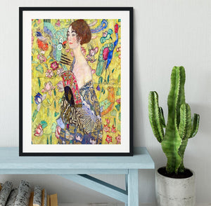 Lady with fan by Klimt Framed Print - Canvas Art Rocks - 1