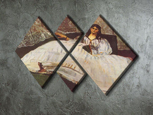 Lady with fan by Manet 4 Square Multi Panel Canvas - Canvas Art Rocks - 2
