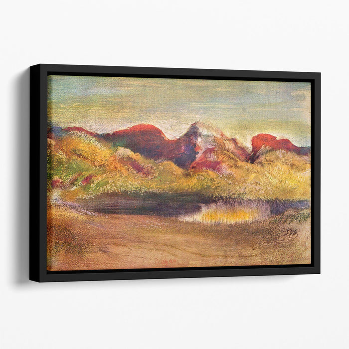Lake and mountains by Degas Floating Framed Canvas
