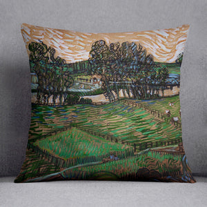 Landscape with Bridge across the Oise by Van Gogh Throw Pillow