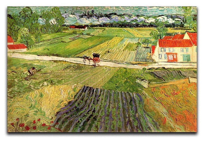 Landscape with Carriage and Train in the Background by Van Gogh Canvas Print or Poster