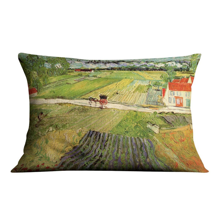 Landscape with Carriage and Train in the Background by Van Gogh Throw Pillow