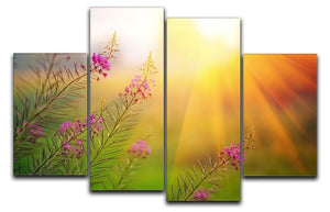 Landscape with Fireweed at sunny summer 4 Split Panel Canvas  - Canvas Art Rocks - 1