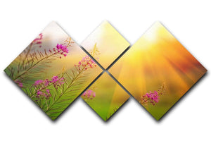 Landscape with Fireweed at sunny summer 4 Square Multi Panel Canvas  - Canvas Art Rocks - 1