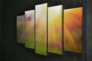 Landscape with Fireweed at sunny summer 5 Split Panel Canvas  - Canvas Art Rocks - 2